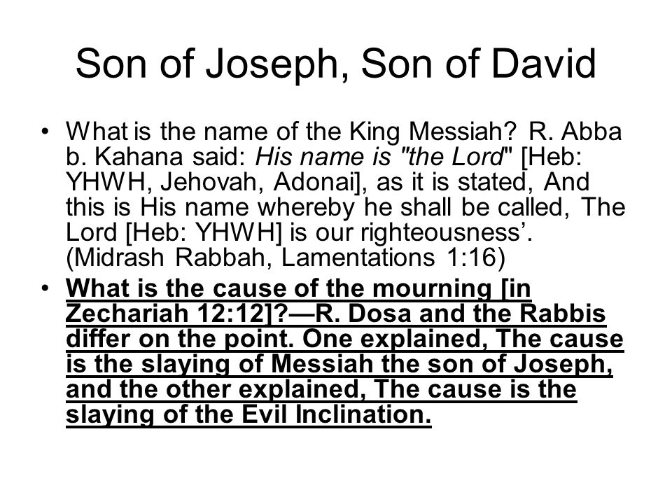 Son of Joseph, Son of David What is the name of the King Messiah.