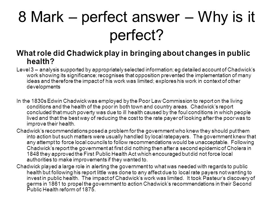 8 Mark – perfect answer – Why is it perfect.