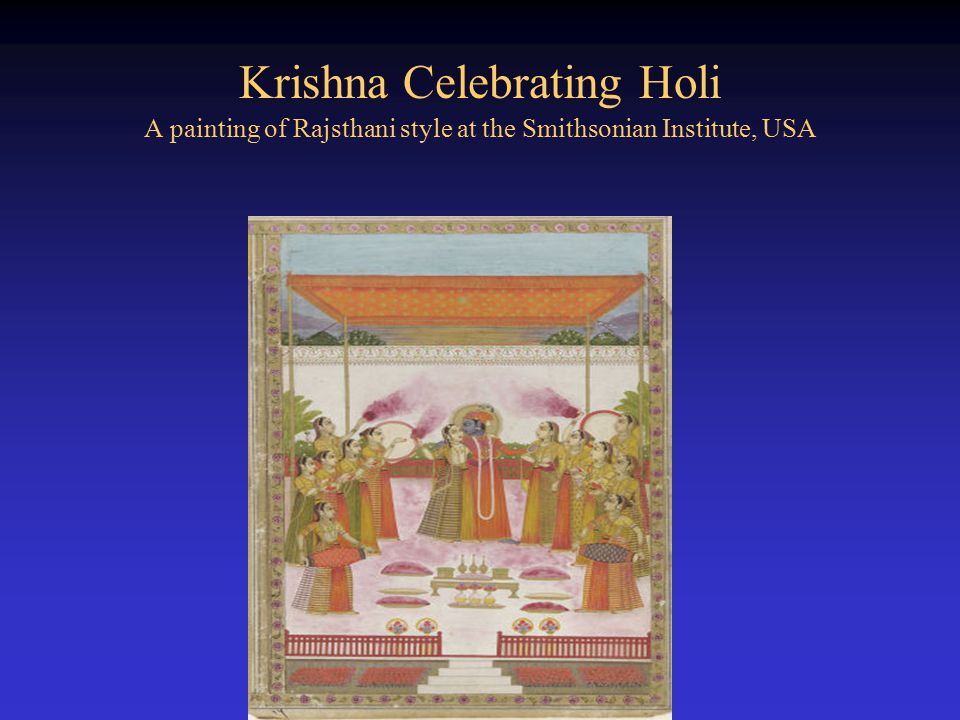 Krishna Celebrating Holi A painting of Rajsthani style at the Smithsonian Institute, USA