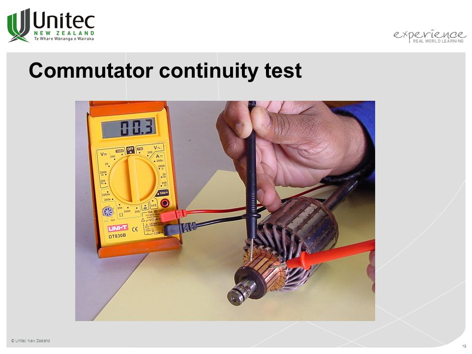 Commutator continuity test © Unitec New Zealand 19