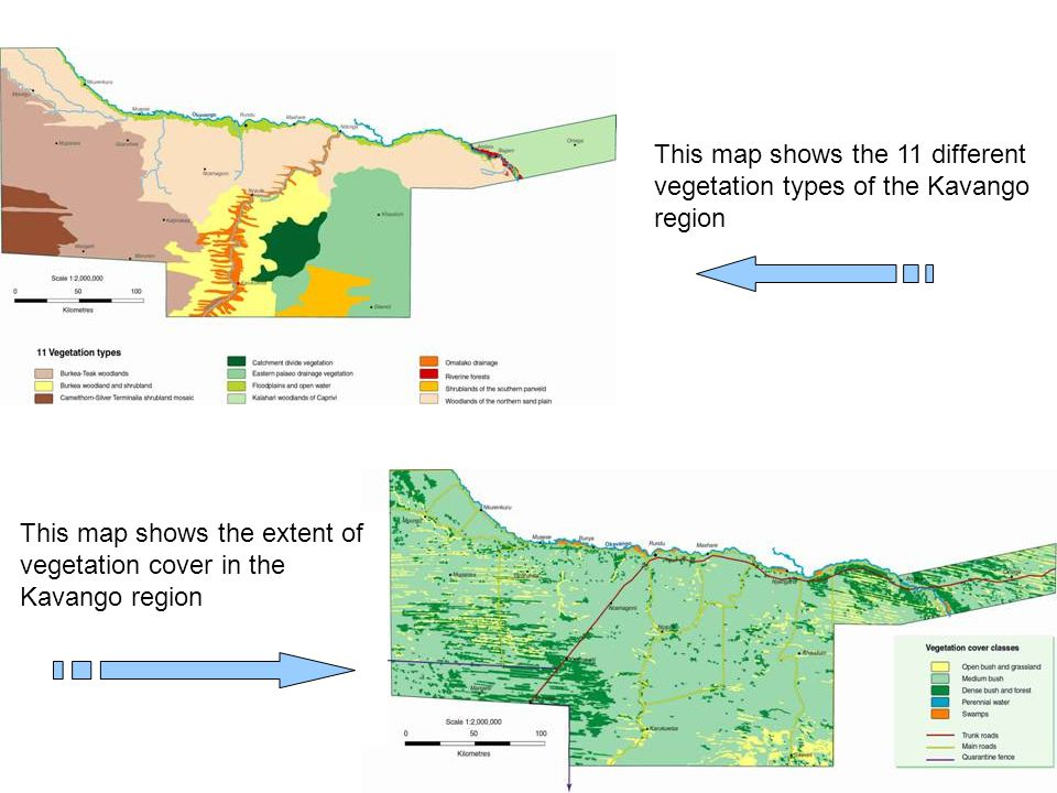 This map shows the 11 different vegetation types of the Kavango region This map shows the extent of vegetation cover in the Kavango region