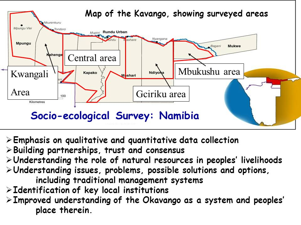 Socio-Ecological Survey * Methodology developed and well tested in Namibia  Holistic, rapid social and natural resource appraisals Introduction to project Develop shared understanding of resource issues, social setting, problems, ideas, etc.
