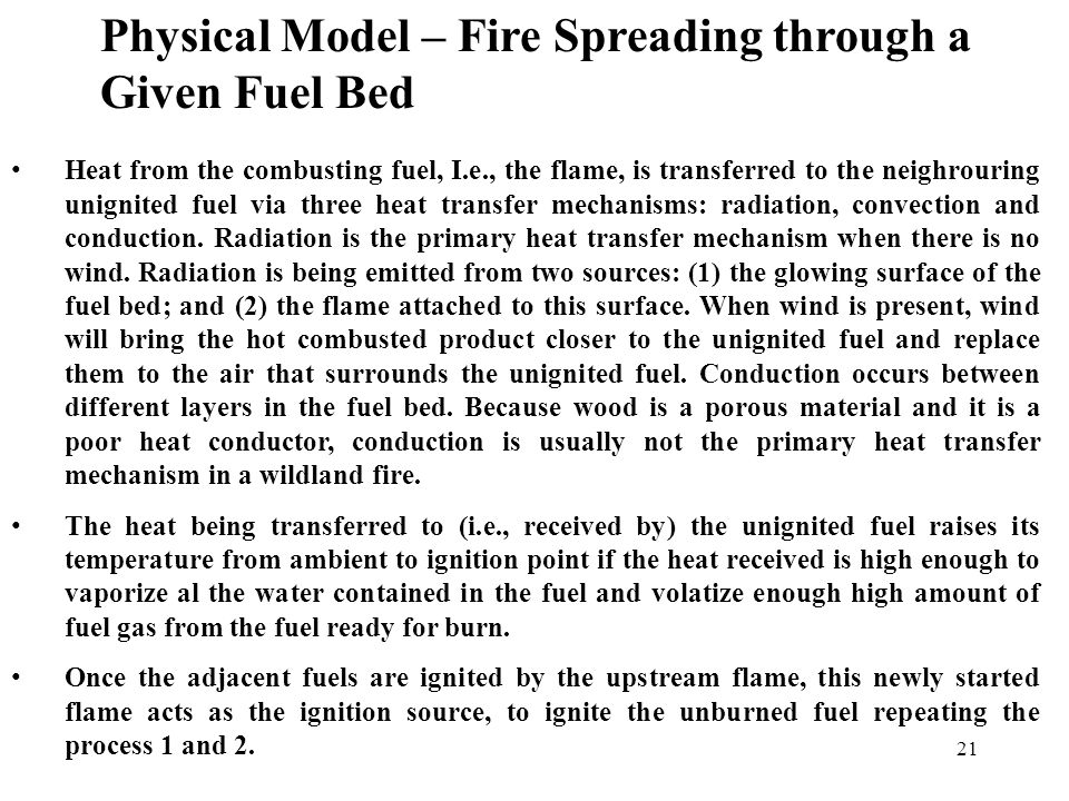 20 Physical Model – Fire Spreading through a Given Fuel Bed
