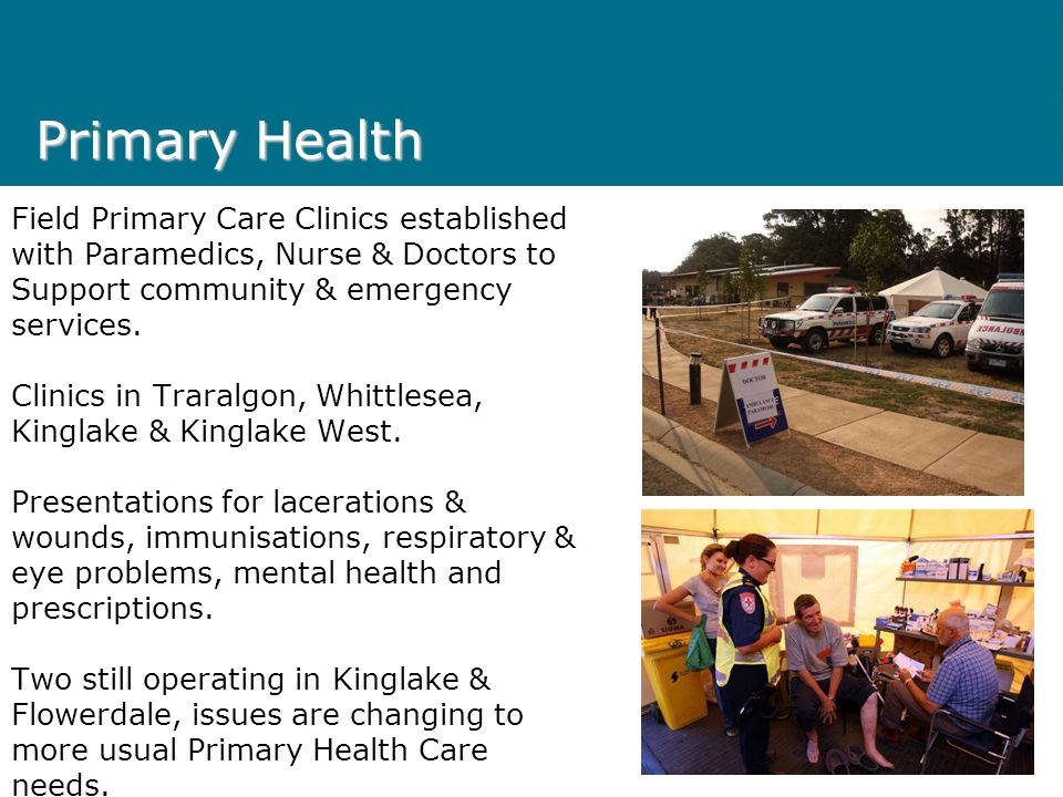 Primary Health Field Primary Care Clinics established with Paramedics, Nurse & Doctors to Support community & emergency services.