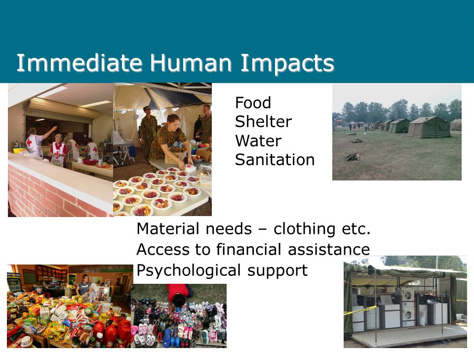 Immediate Human Impacts Material needs – clothing etc.
