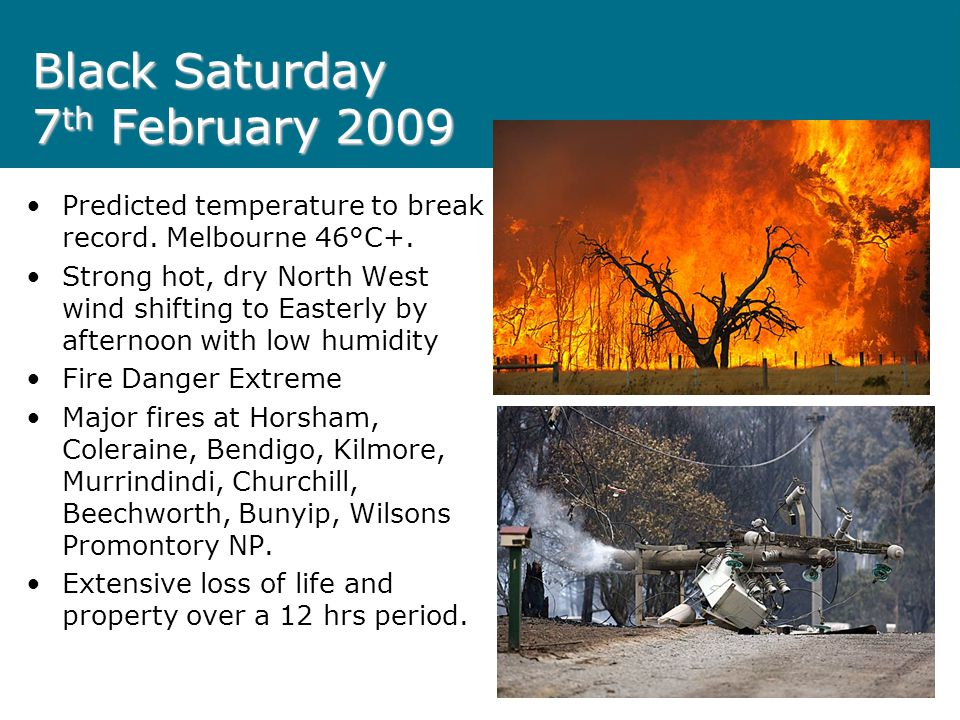 Black Saturday 7 th February 2009 Extreme weather event Major fires in all parts of Victoria.