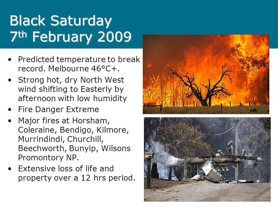 Black Saturday 7 th February 2009 Predicted temperature to break record.