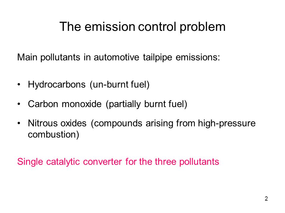 3 Catalyst efficiency for three pollutants