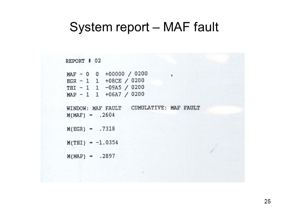 25 System report – MAF fault