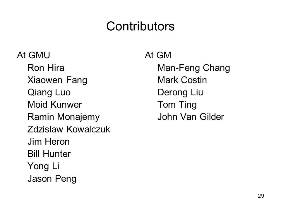 29 Contributors At GMU At GM Ron HiraMan-Feng Chang Xiaowen FangMark Costin Qiang Luo Derong Liu Moid KunwerTom Ting Ramin MonajemyJohn Van Gilder Zdz