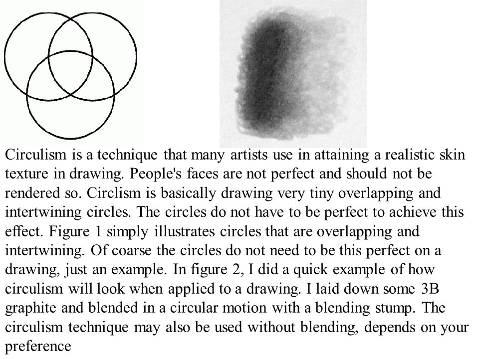 Circulism is a technique that many artists use in attaining a realistic skin texture in drawing. People's faces are not perfect and should not be rend