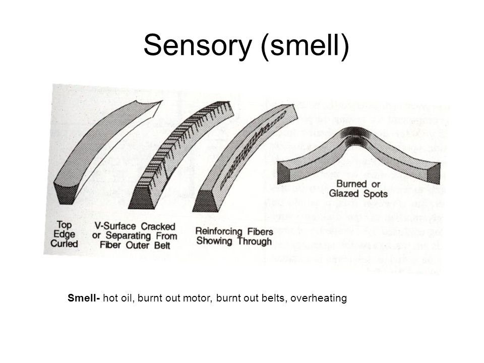 Sensory (Touch) Touch- vibration, wear, play, belt or chain tension, out of balance, excessive clearance