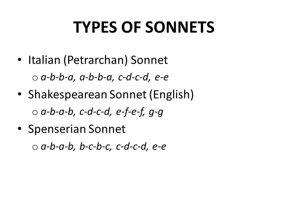 PARTS OF A SONNET Octave (Lines 1-8) o Problem, conflict, question Sestet (Lines 9-14) – Resolution, conclusion