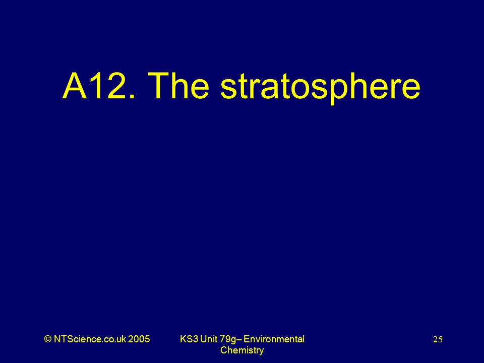 © NTScience.co.uk 2005KS3 Unit 79g– Environmental Chemistry 25 A12. The stratosphere