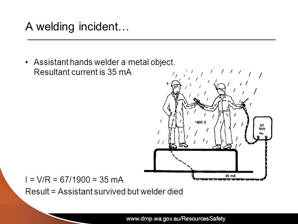 www.dmp.wa.gov.au/ResourcesSafety A welding incident… Assistant hands welder a metal object.