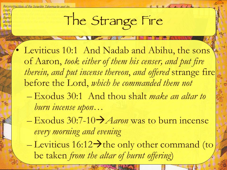 The Sentence Leviticus 10:2 And there went out fire from the Lord, and devoured them, and they died before the Lord –Leviticus 9:24 And there came a fire out from before the Lord, and consumed upon the altar the burnt offering and the fat (positive here) –Leviticus 10:3 … I will be sanctified in them that come nigh me, and before all the people I will be glorified (thus, negative here)