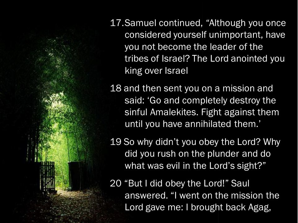 "17.Samuel continued, ""Although you once considered yourself unimportant, have you not become the leader of the tribes of Israel? The Lord anointed you"