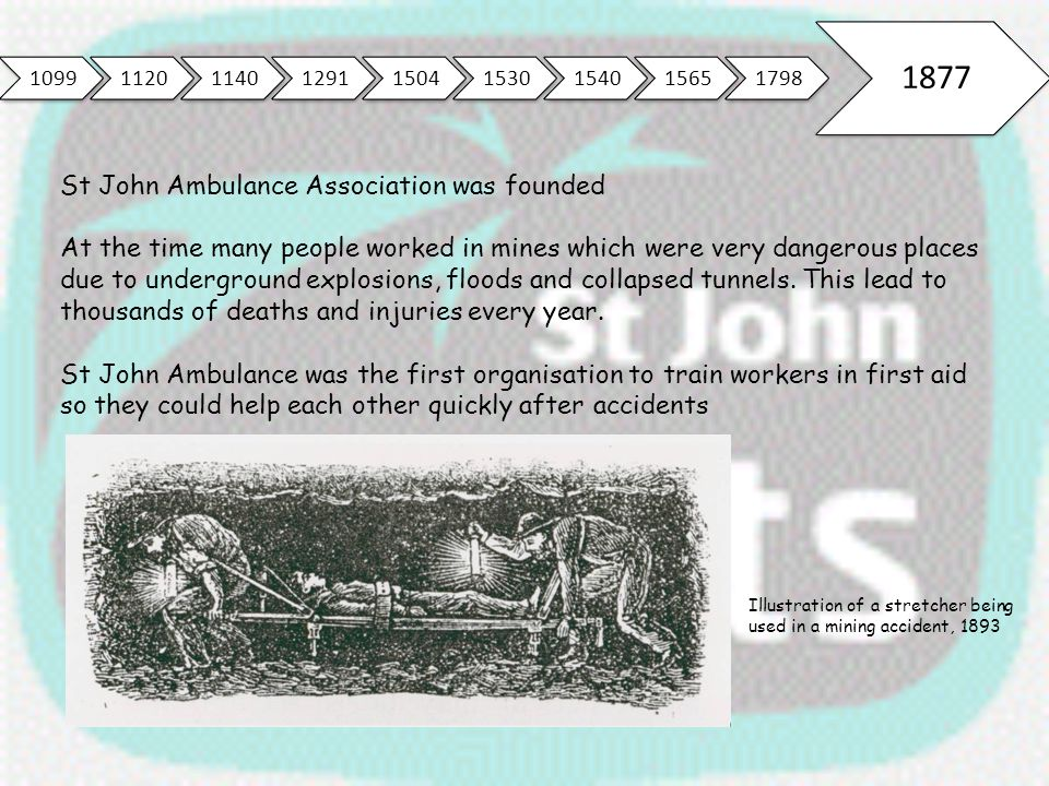 109911201140129115041530154015651798 1877 St John Ambulance Association was founded At the time many people worked in mines which were very dangerous