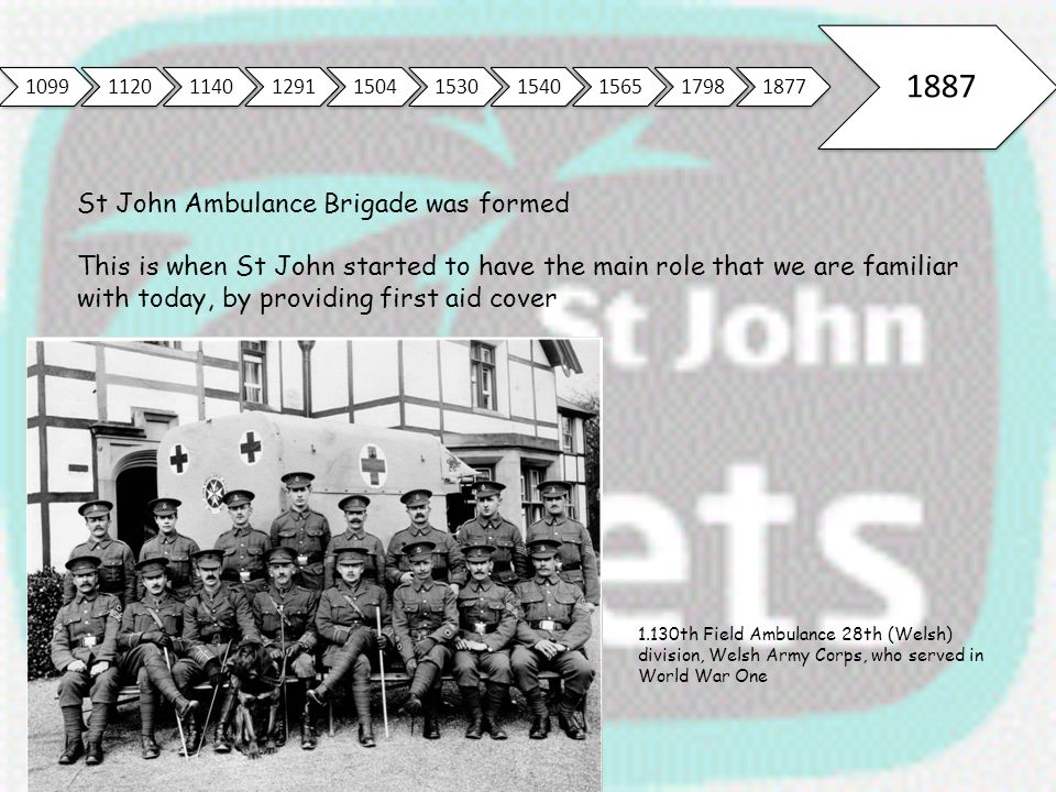 1099112011401291150415301540156517981877 1887 St John Ambulance Brigade was formed This is when St John started to have the main role that we are fami