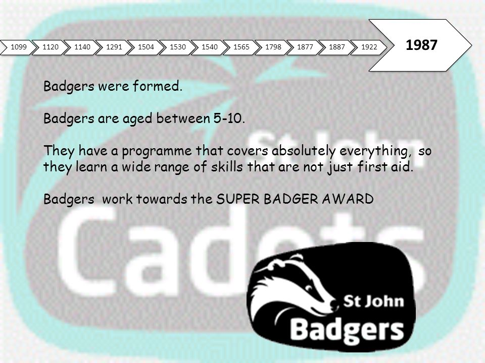 109911201140129115041530154015651798187718871922 1987 Badgers were formed. Badgers are aged between 5-10. They have a programme that covers absolutely