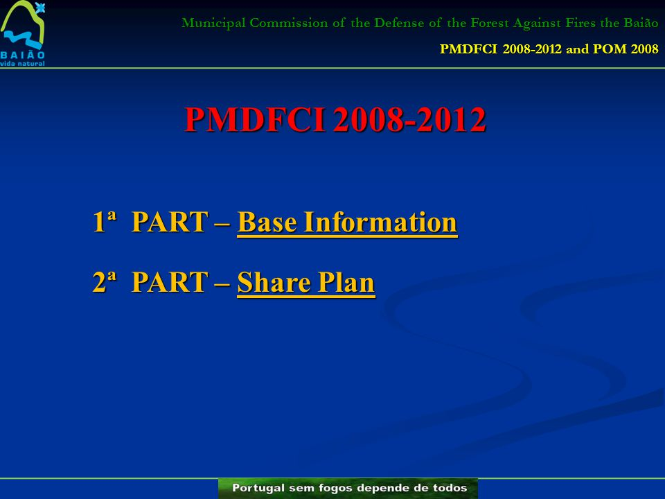 PMDFCI 2008-2012 1ª PART – Base Information 2ª PART – Share Plan Municipal Commission of the Defense of the Forest Against Fires the Baião PMDFCI 2008