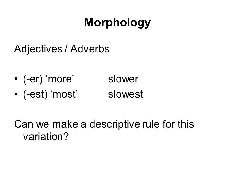 Morphology Adjectives / Adverbs (-er) 'more' slower (-est) 'most'slowest Can we make a descriptive rule for this variation?