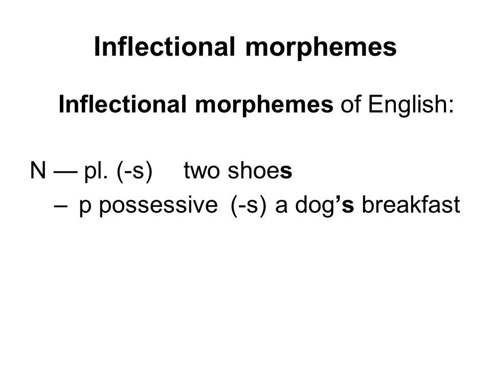 Inflectional morphemes Inflectional morphemes of English: N — pl.