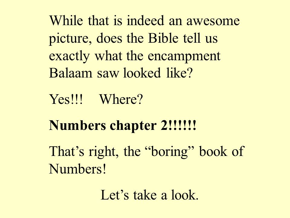 While that is indeed an awesome picture, does the Bible tell us exactly what the encampment Balaam saw looked like.