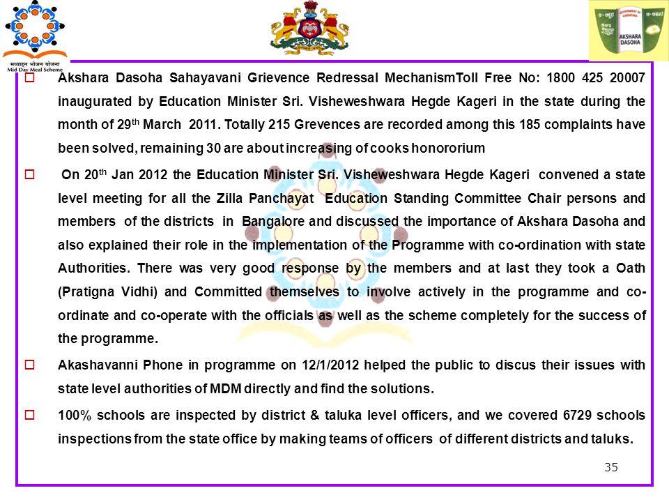  Akshara Dasoha Sahayavani Grievence Redressal MechanismToll Free No: 1800 425 20007 inaugurated by Education Minister Sri.