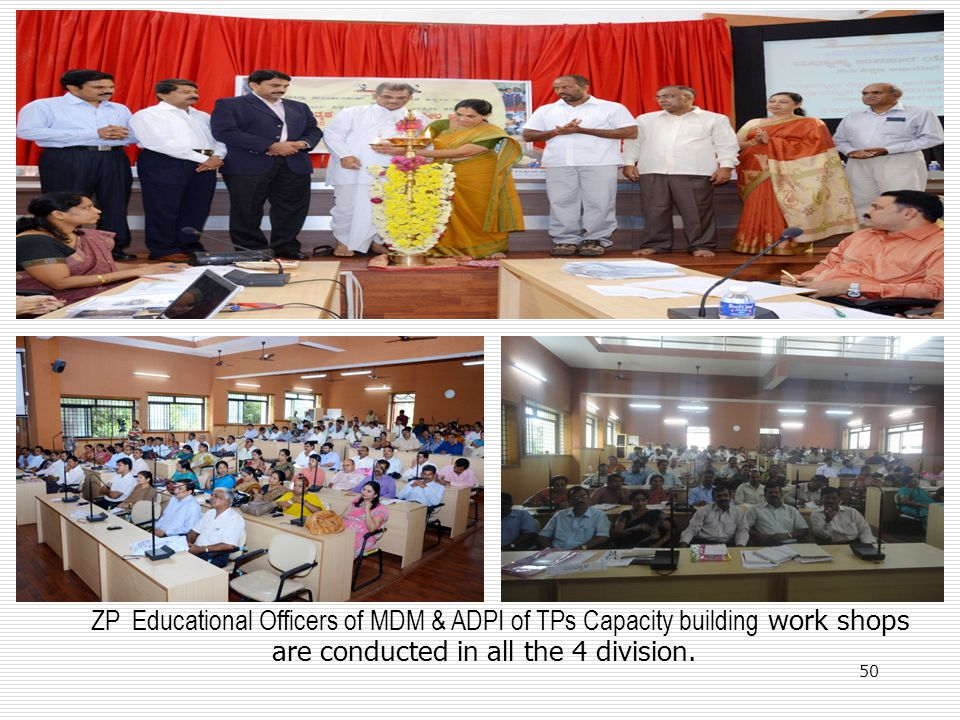 ZP Educational Officers of MDM & ADPI of TPs Capacity building work shops are conducted in all the 4 division. 50