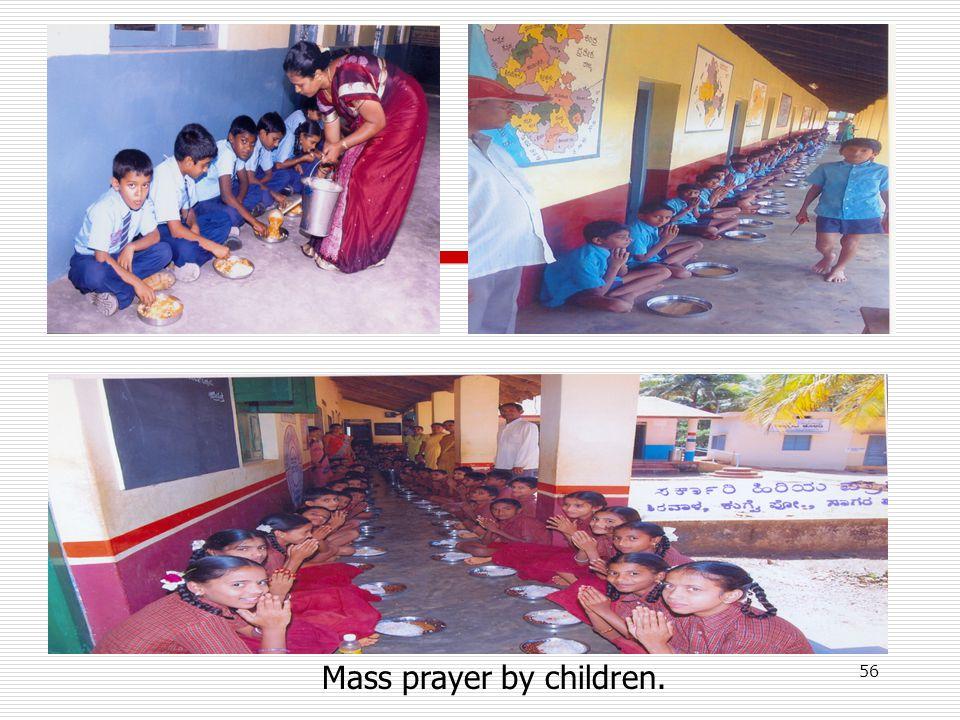 Mass prayer by children. 56