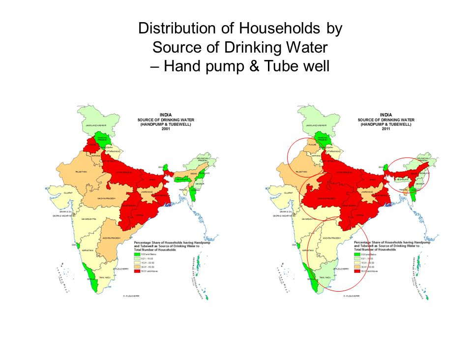Distribution of Households by Source of Drinking Water – Hand pump & Tube well