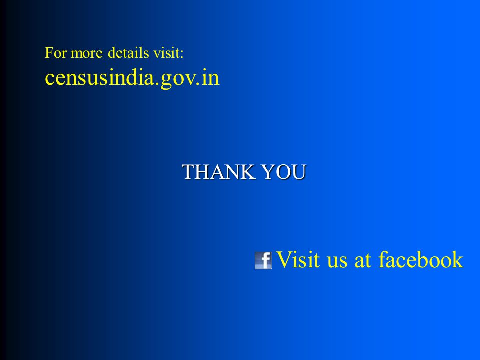THANK YOU For more details visit: censusindia.gov.in Visit us at facebook
