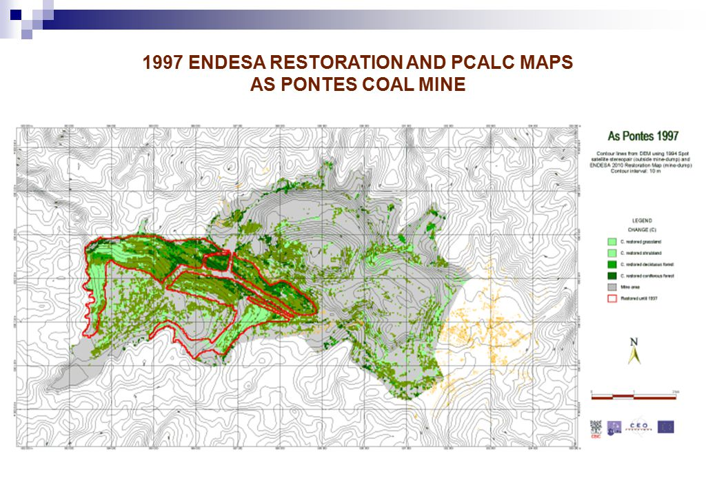 1997 ENDESA RESTORATION AND PCALC MAPS AS PONTES COAL MINE