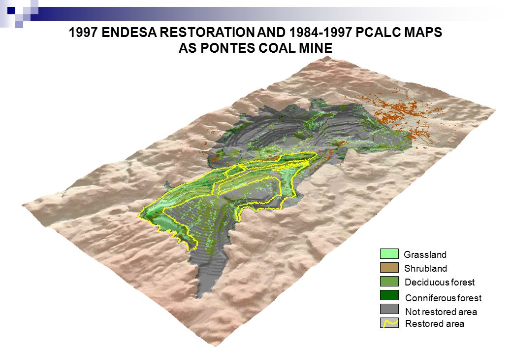 1997 ENDESA RESTORATION AND 1984-1997 PCALC MAPS AS PONTES COAL MINE Grassland Shrubland Deciduous forest Not restored area Conniferous forest Restored area