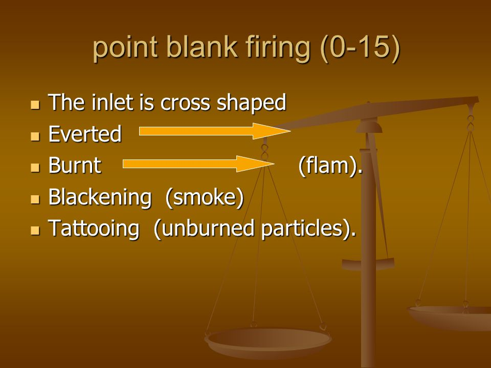 point blank firing (0-15) The inlet is cross shaped Everted Burnt (flam). Blackening (smoke) Tattooing (unburned particles).
