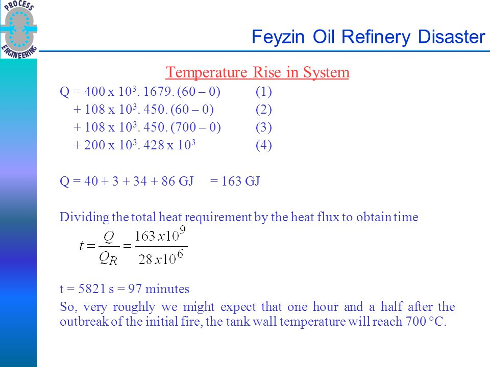 Feyzin Oil Refinery Disaster Temperature Rise in System Q = 400 x 10 3. 1679. (60 – 0) (1) + 108 x 10 3. 450. (60 – 0)(2) + 108 x 10 3. 450. (700 – 0)