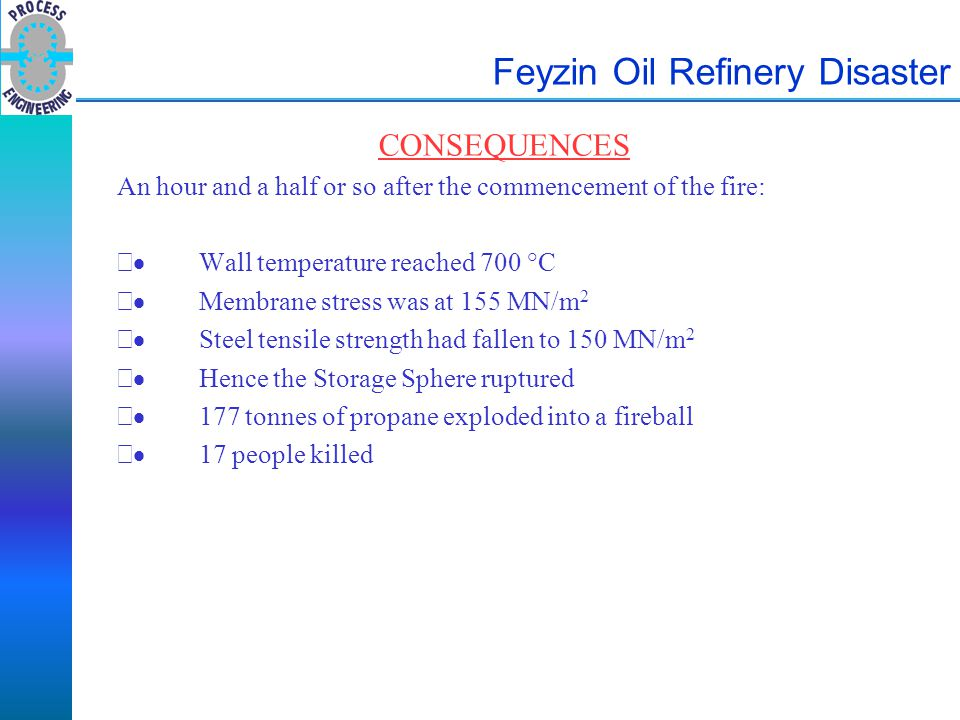 Feyzin Oil Refinery Disaster CONSEQUENCES An hour and a half or so after the commencement of the fire:  Wall temperature reached 700 °C  Membrane