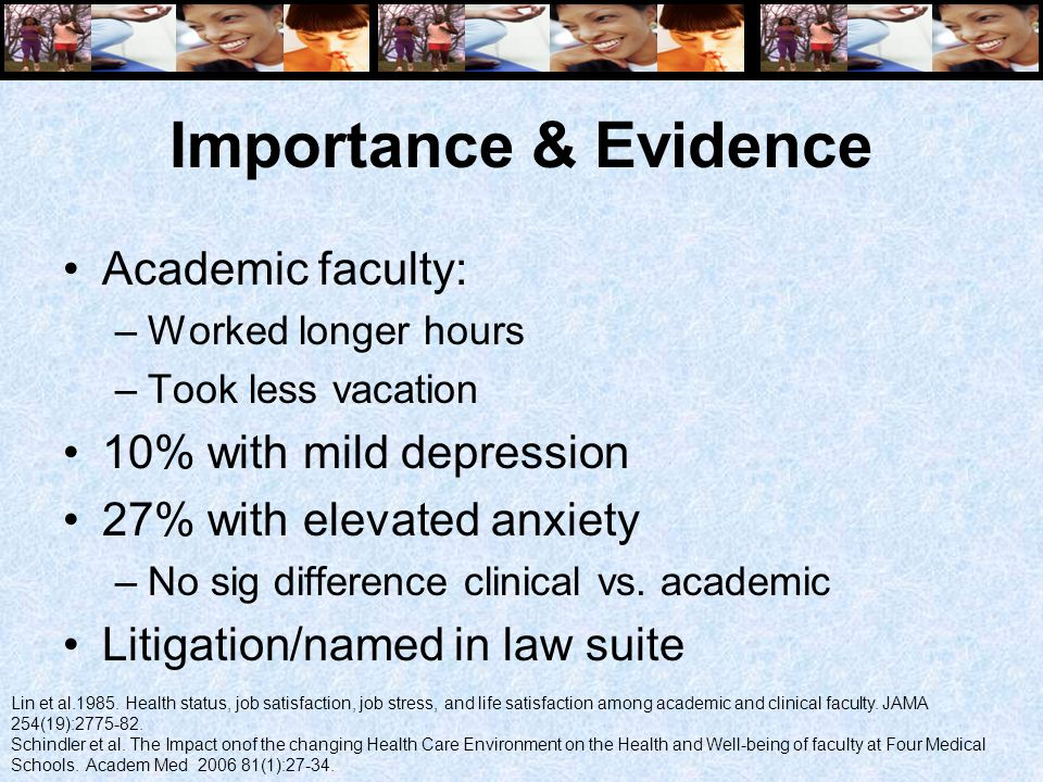 Importance & Evidence Academic faculty: –Worked longer hours –Took less vacation 10% with mild depression 27% with elevated anxiety –No sig difference