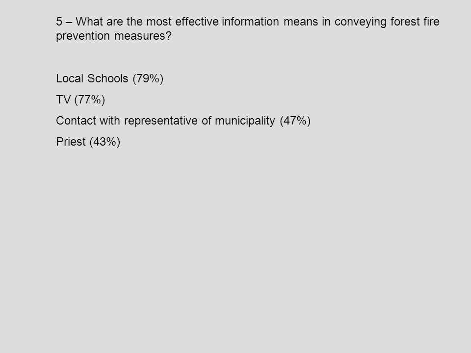 5 – What are the most effective information means in conveying forest fire prevention measures.