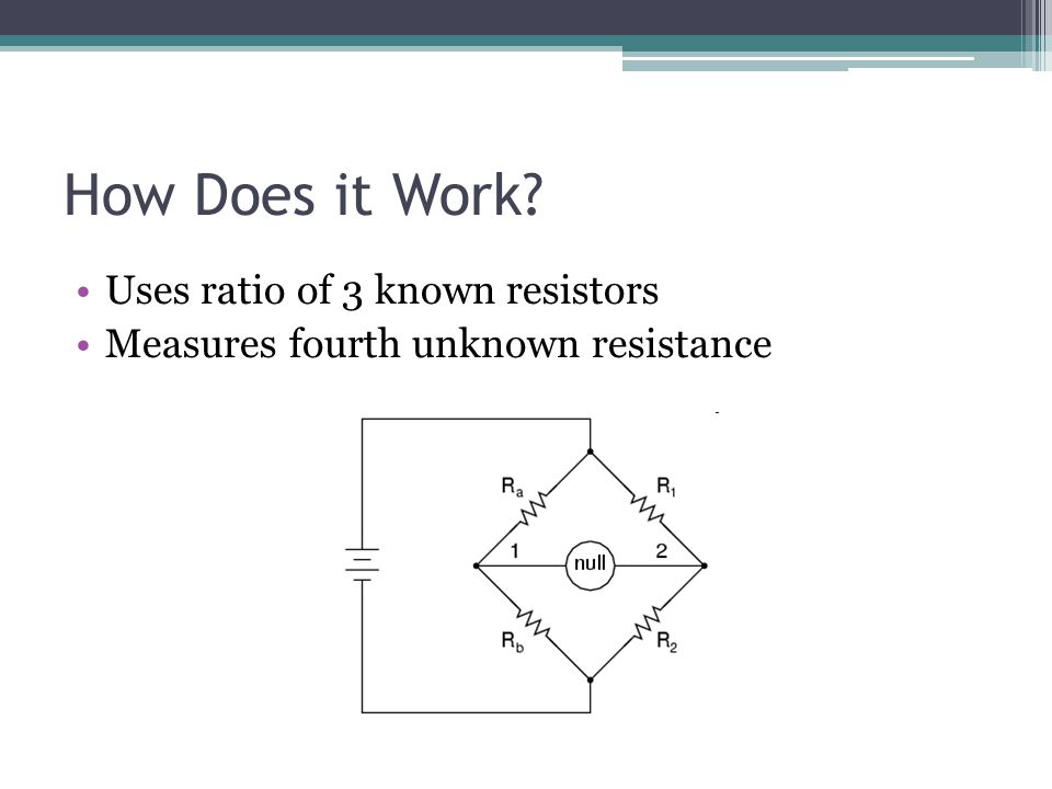 How Does it Work? Uses ratio of 3 known resistors Measures fourth unknown resistance