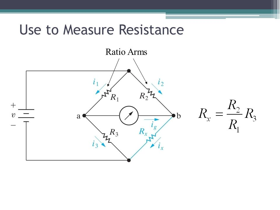 Use to Measure Resistance Ratio Arms