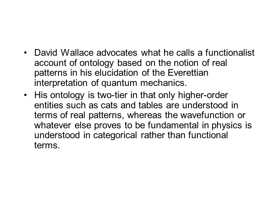 David Wallace advocates what he calls a functionalist account of ontology based on the notion of real patterns in his elucidation of the Everettian in
