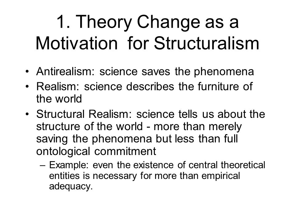 More Structural Realism Instructive historical examples:  The transition from Fresnel's ether theory of light to Maxwell's electromagnetic field theory.