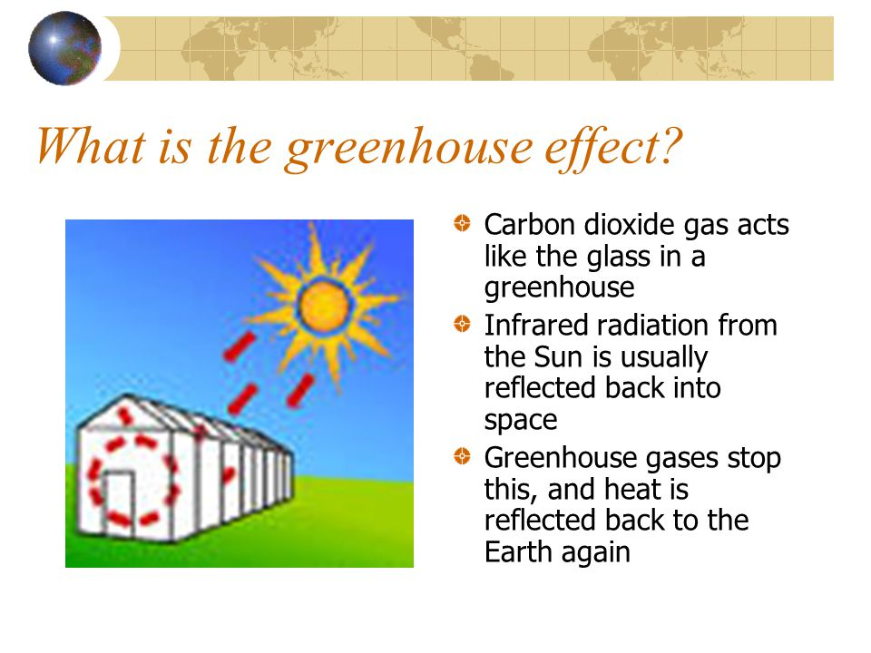 What is the greenhouse effect? Carbon dioxide gas acts like the glass in a greenhouse Infrared radiation from the Sun is usually reflected back into s