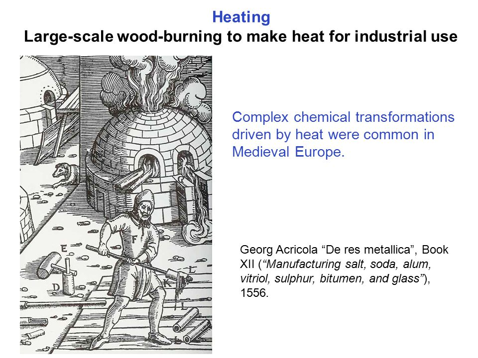 Heating Large-scale wood-burning to make heat for industrial use Georg Acricola De res metallica , Book XII ( Manufacturing salt, soda, alum, vitriol, sulphur, bitumen, and glass ), 1556.