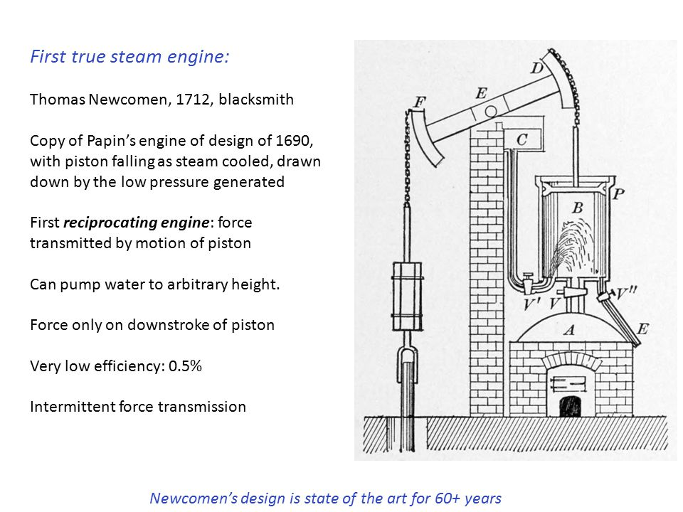 Newcomen's design is state of the art for 60+ years First true steam engine: Thomas Newcomen, 1712, blacksmith Copy of Papin's engine of design of 1690, with piston falling as steam cooled, drawn down by the low pressure generated First reciprocating engine: force transmitted by motion of piston Can pump water to arbitrary height.