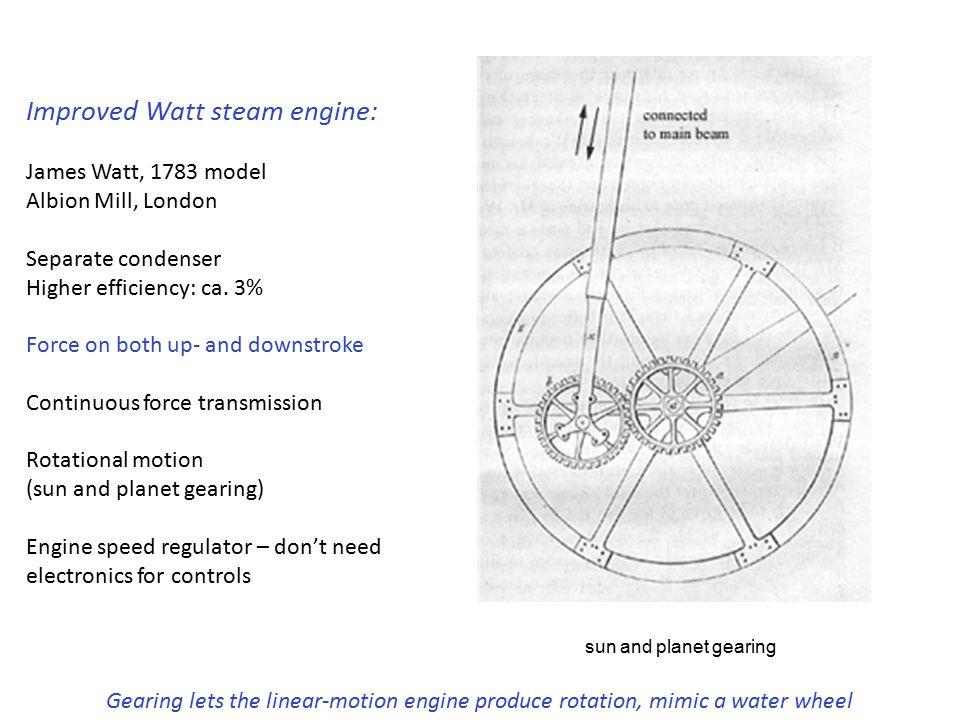 Improved Watt steam engine: James Watt, 1783 model Albion Mill, London Separate condenser Higher efficiency: ca. 3% Force on both up- and downstroke C