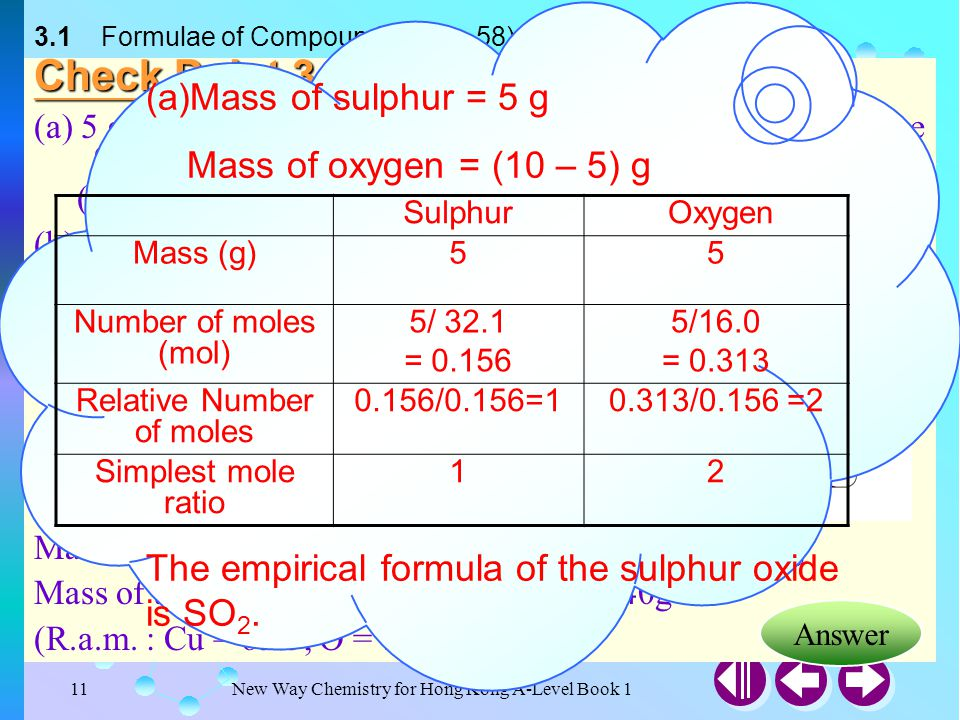 New Way Chemistry for Hong Kong A-Level Book 110 3.2 Derivation of Empirical Formulae (SB p.57) Solution: (cont'd) Let the empirical formula of compou