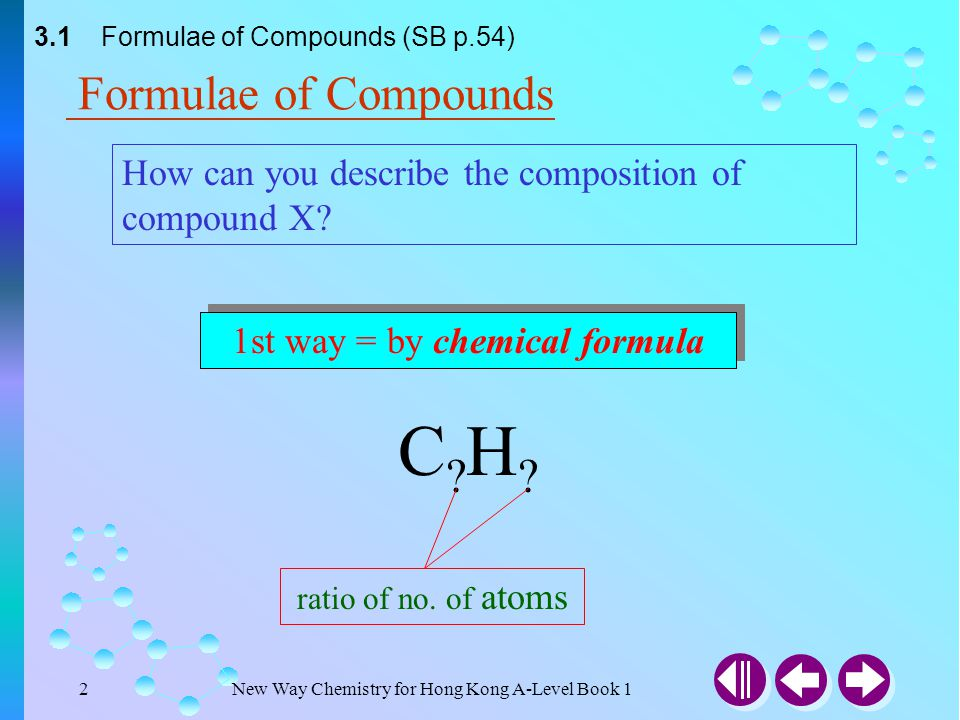 New Way Chemistry for Hong Kong A-Level Book 112 3.1 Formulae of Compounds (SB p.58) (b) The empirical formula of the oxide is M 2 O 5.